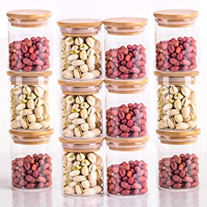 Glass Storage Jars, Glass Food Storage Containers with Sealed Bamboo Lids for Home Kitchen, Tea, Herbs, Sugar, Salt, Coffee, Weed, Flour, Candy, Cookie, Herbs, Grains (12, 180ML)