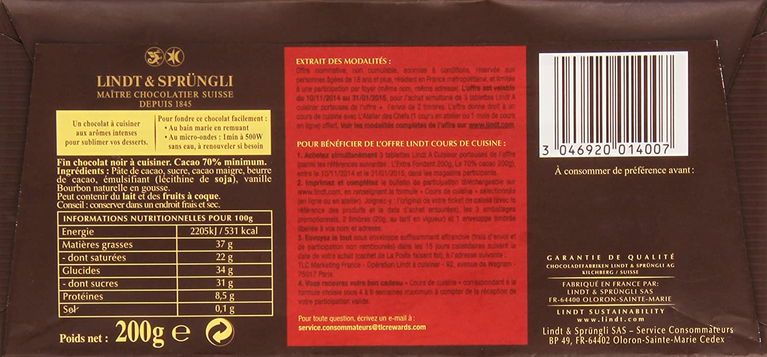 Lindt Cooking Chocolate Bar 70 200g Amazoncouk Grocery