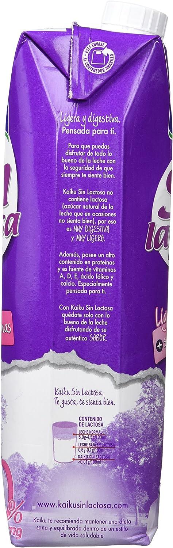 Kaiku Leche sin Lactosa Desnatada, Paquete de 6 x 1000ml ...