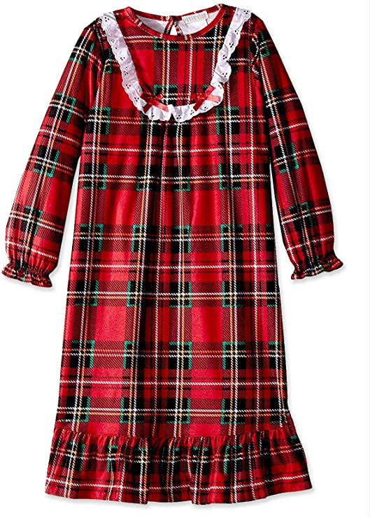 1940s Children's Clothing: Girls, Boys, Baby, Toddler Komar Kids Little Girls  Traditional Holiday Plaid Nightgown $21.99 AT vintagedancer.com