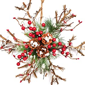 Bibelot Natural Rattan Snowflake Hanging Sign Christmas Ornaments with Red Berry Pinecones Winter Farmhouse Rustic Decor for Home Outdoor Indoor Wall Front Door Decor