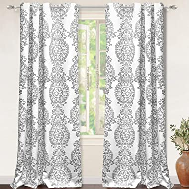 DriftAway Samantha Thermal Room Darkening Grommet Unlined Window Curtains Floral Damask Medallion Pattern 2 Panels Each 52 Inch by 96 Inch Gray