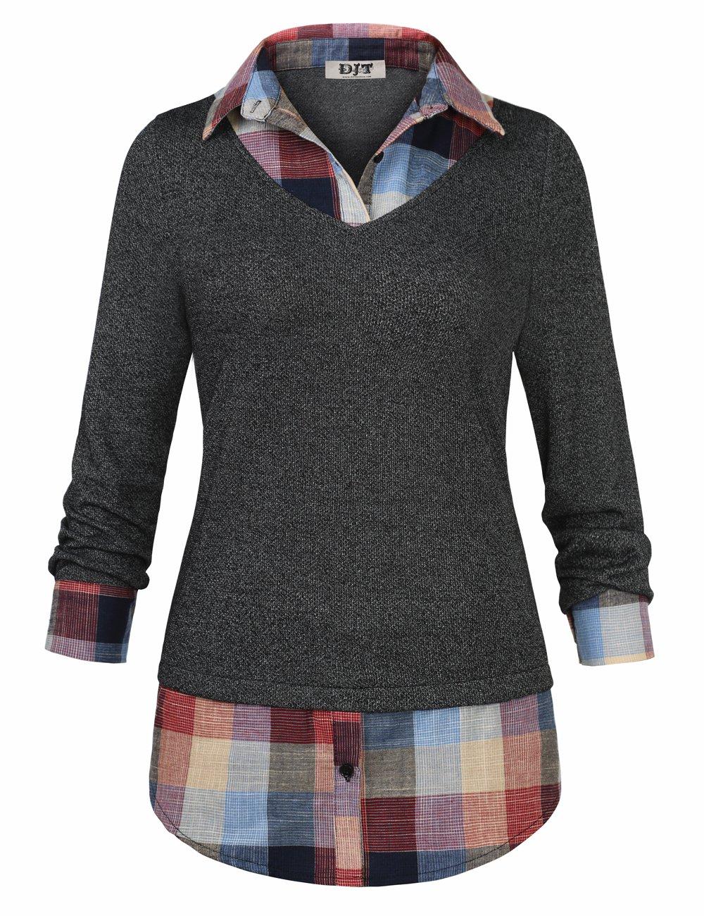 Women's 2-in-1 Style Shirt, DJT Plaid Lapel Collar Curved Hem Checker Pullover Sweatshirt T-Shirt Top M Dark Grey