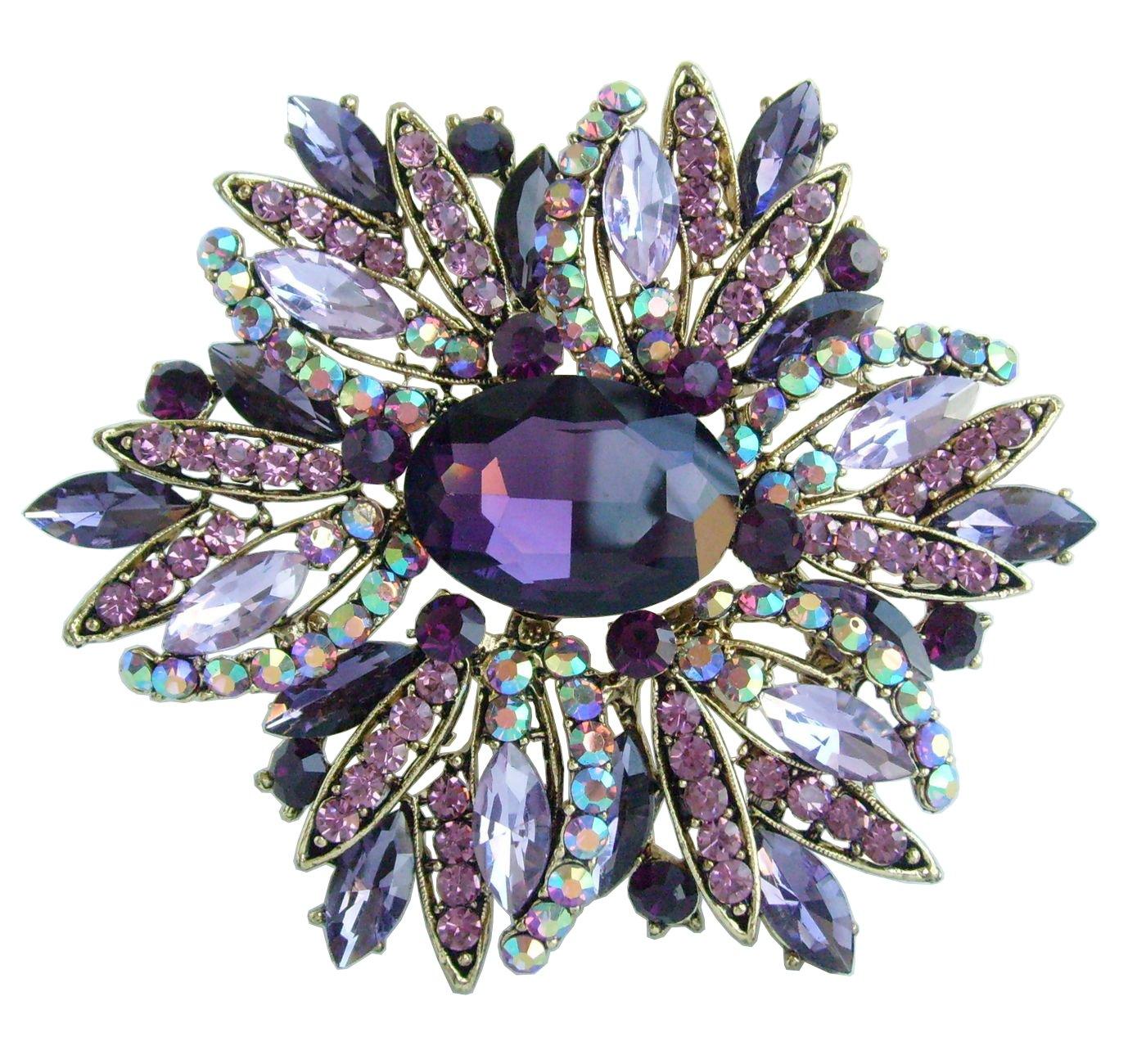 Sindary 3.94'' Purple Rhinestone Crystal Teardrop Flower Brooch Pin Pendant BZ4053