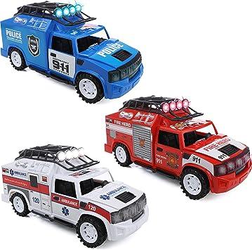 IQ Toys Juego de 3 vehículos de rescate de emergencia – ambulancia, camión de bomberos y policía con luces y sirenas: Amazon.es: Juguetes y juegos