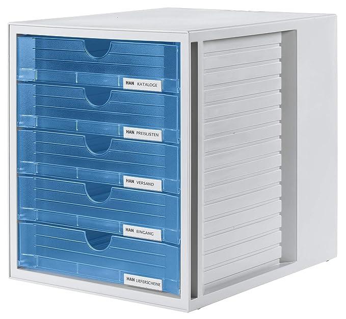 HAN 1450 SYSTEMBOX- Cajonera para documentos (DIN A4/C4 y formatos mayores, 5 cajones cerrados), color azul translúcido