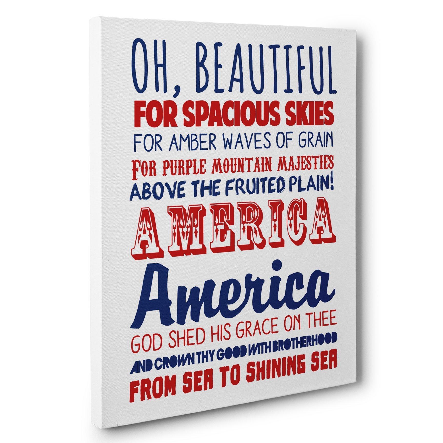 America The Beautiful Patriotic Canvas Wall Art