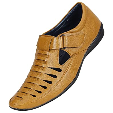319b0539c90131 BUCADIA Men Tan Black Colour Outdoor Formal Casual Ethnic Loafer Sandal  Shoe: Buy Online at Low Prices in India - Amazon.in