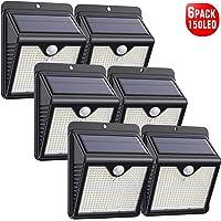 Luz Solar Exterior, [2020 Más Nuevo Modelo 6-Paquete 150 LED - 1000 Lumens] iPosible 180 °Iluminación Foco Solar con…