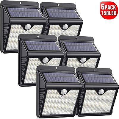 Luz Solar Exterior, [2020 Más Nuevo Modelo 6-Paquete 150 LED - 1000 Lumens] iPosible 180 °Iluminación Foco Solar con Sensor de Movimiento Impermeable Lámpara Solar para Jardín Camino