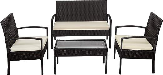 KitGarden - Conjunto Muebles Terraza/Jardín Imitación Ratán, 2 Sillones + 1 Sofá dos plazas + 1 Mesa, Marrón, Florida: Amazon.es: Jardín