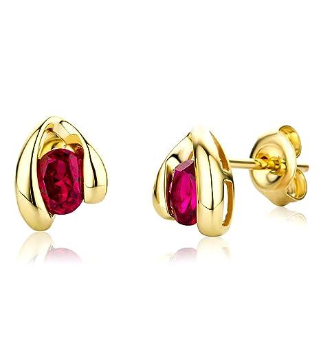 Miore Earrings Women Yellow Gold studs Heart Ruby 9 Kt/375 JmV7aH7eZ
