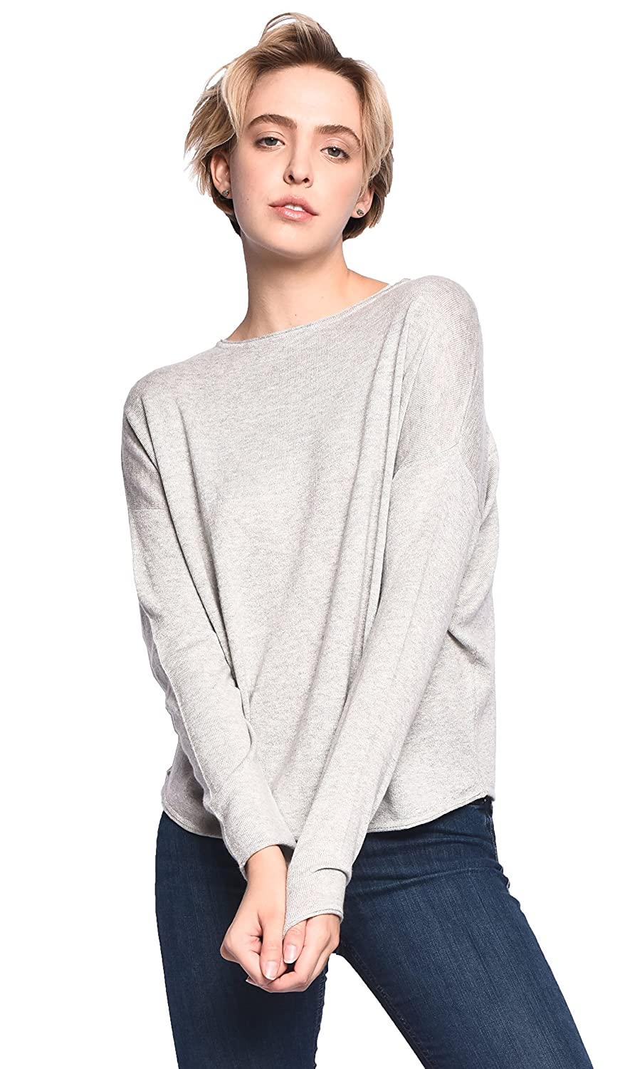 3VERY Womens Cashmere-Silk-Cotton Triangle-Shaped Round Neck