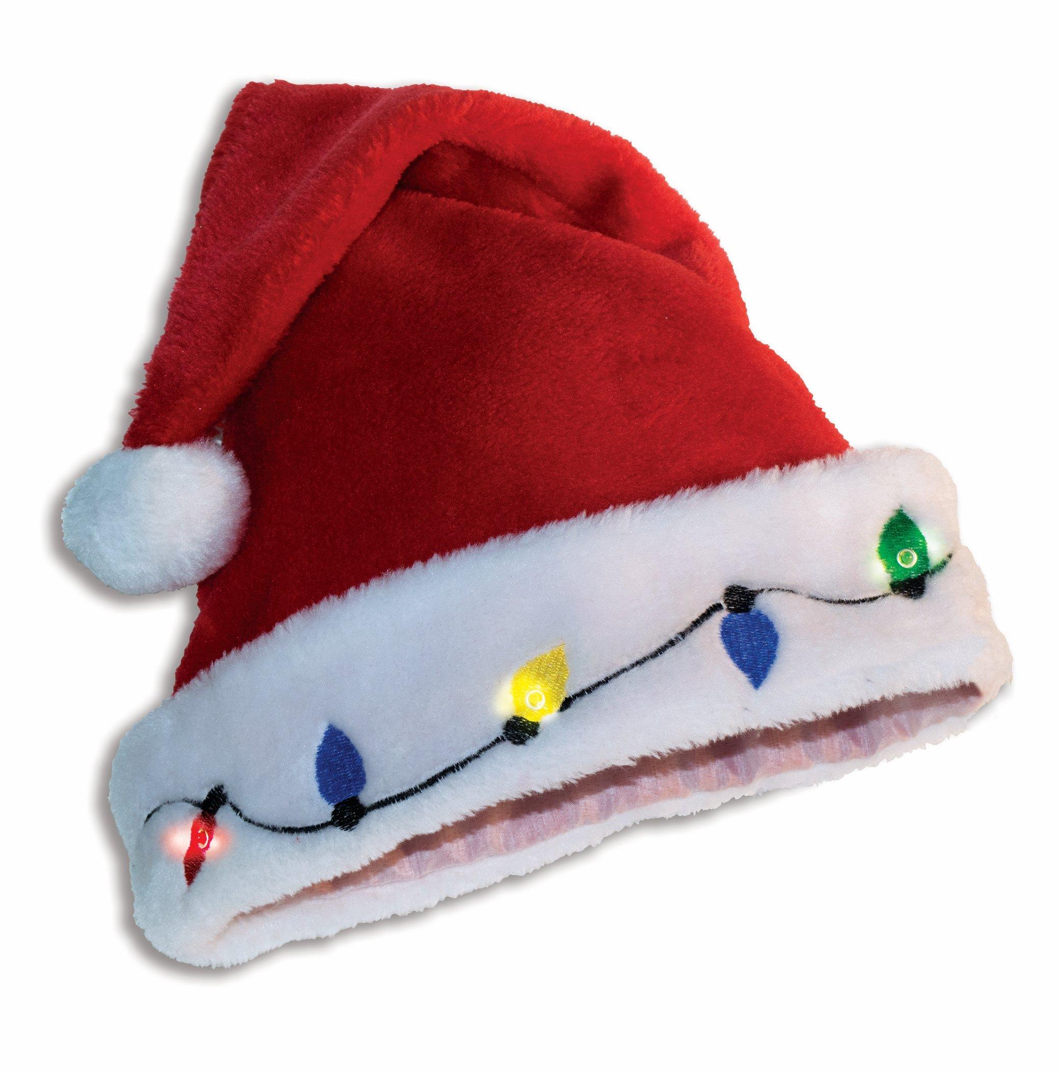 Santa Plush Trim Hat with Christmas Bulb Lights Pkg/12