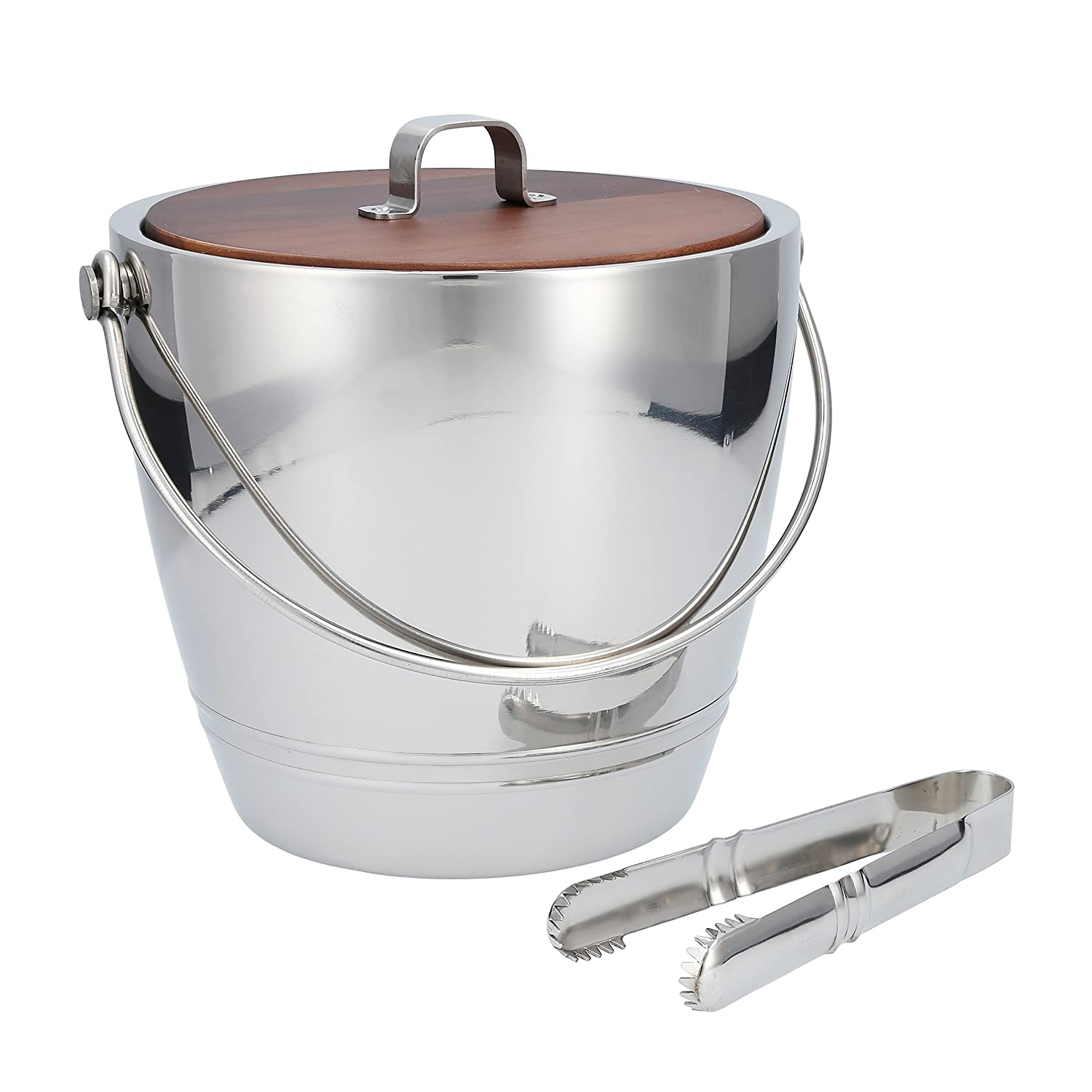 Crafthouse by Fortessa Professional Barware by Charles Joly Stainless Steel Round Ice Bucket with Tongs CRFTH.RDICE.SET