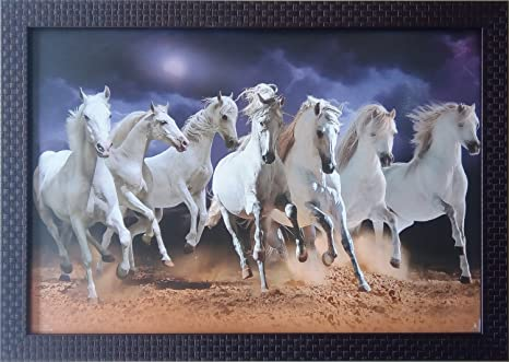 Buy Shree Handicraft Seven White Horse 7 Horses Wall Painting With
