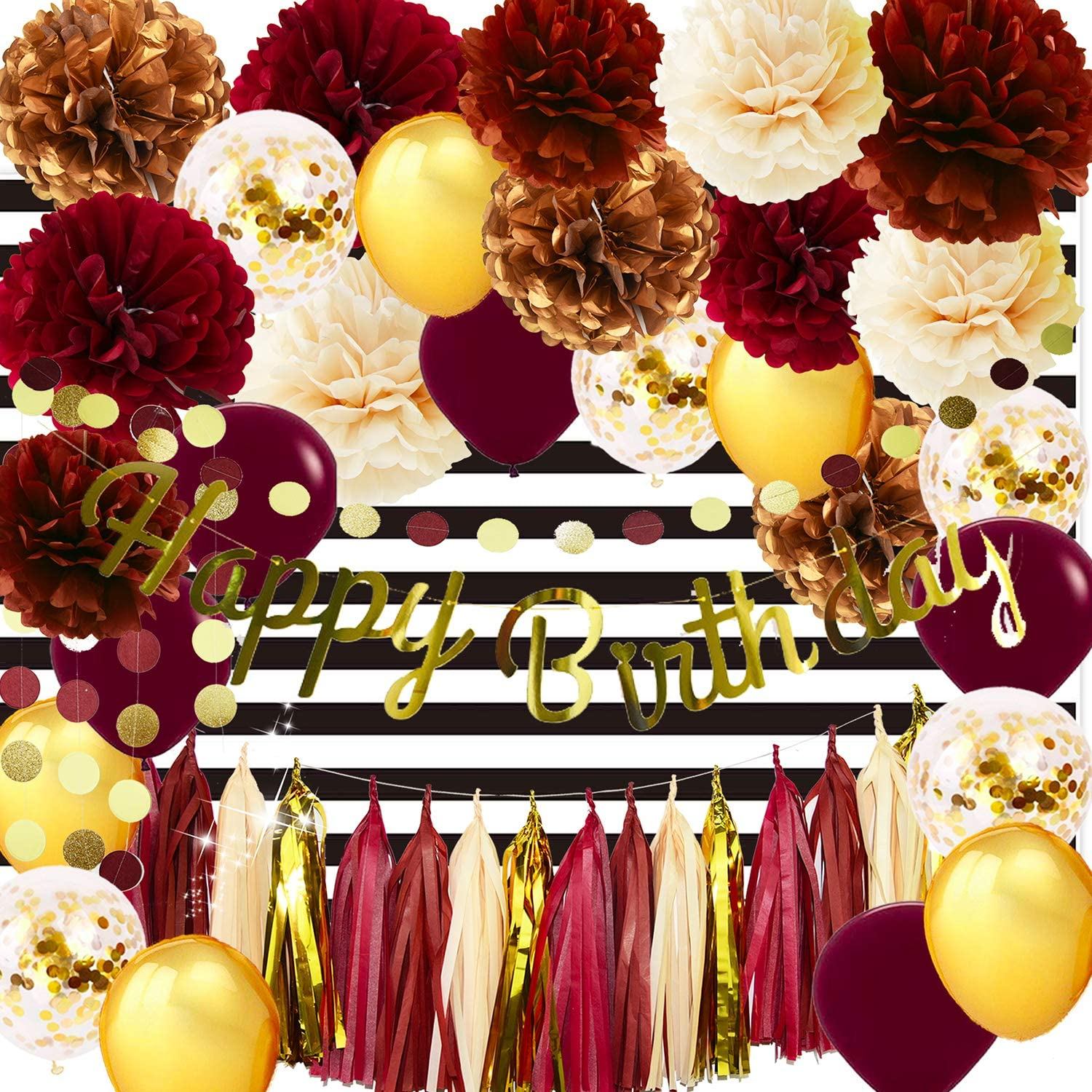 Fall Birthday Party Decorations/Burgundy Champagne Gold Birthday Decor Happy Birthday Letter Banner Maroon Gold Balloons White Black Strip Photo Backdrop Women Burgundy Birthday Party Decorations
