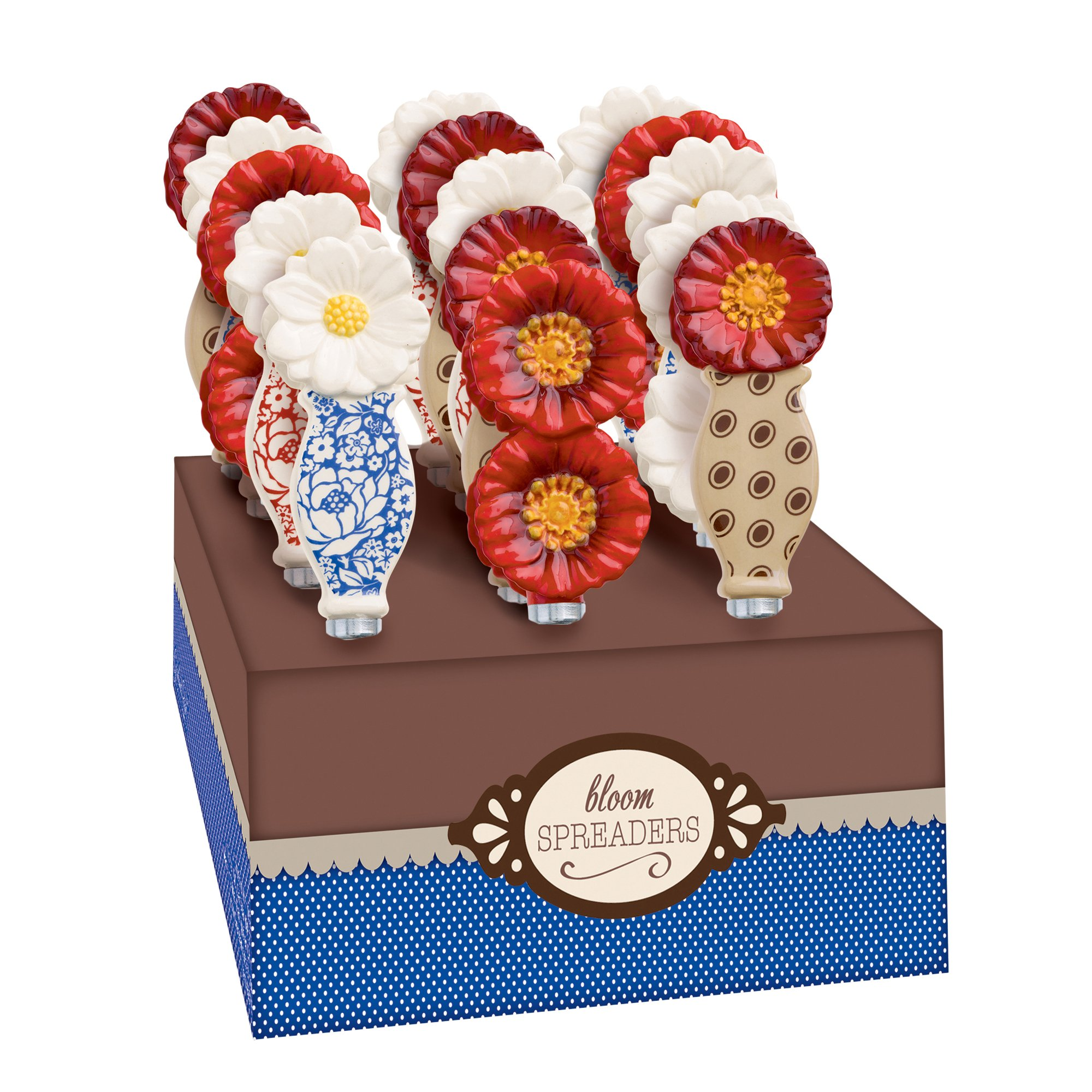 Grasslands Road American Bloom Ceramic Floral Spreader, 6-Inch, Assortment, Set of 15 by Grasslands Road