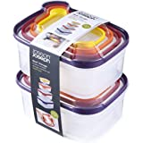 Joseph Joseph 98193 Nest Storage Plastic Food Storage Containers Set Food Saver Resuable Lunch Box Pantry Storage Microwave-Safe, 16-Piece, Multicolored