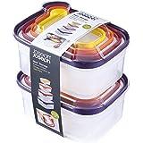 Joseph Joseph 98193 Nest Storage Plastic Food Storage Containers Set with Lids Airtight Microwave Safe, 16-Piece