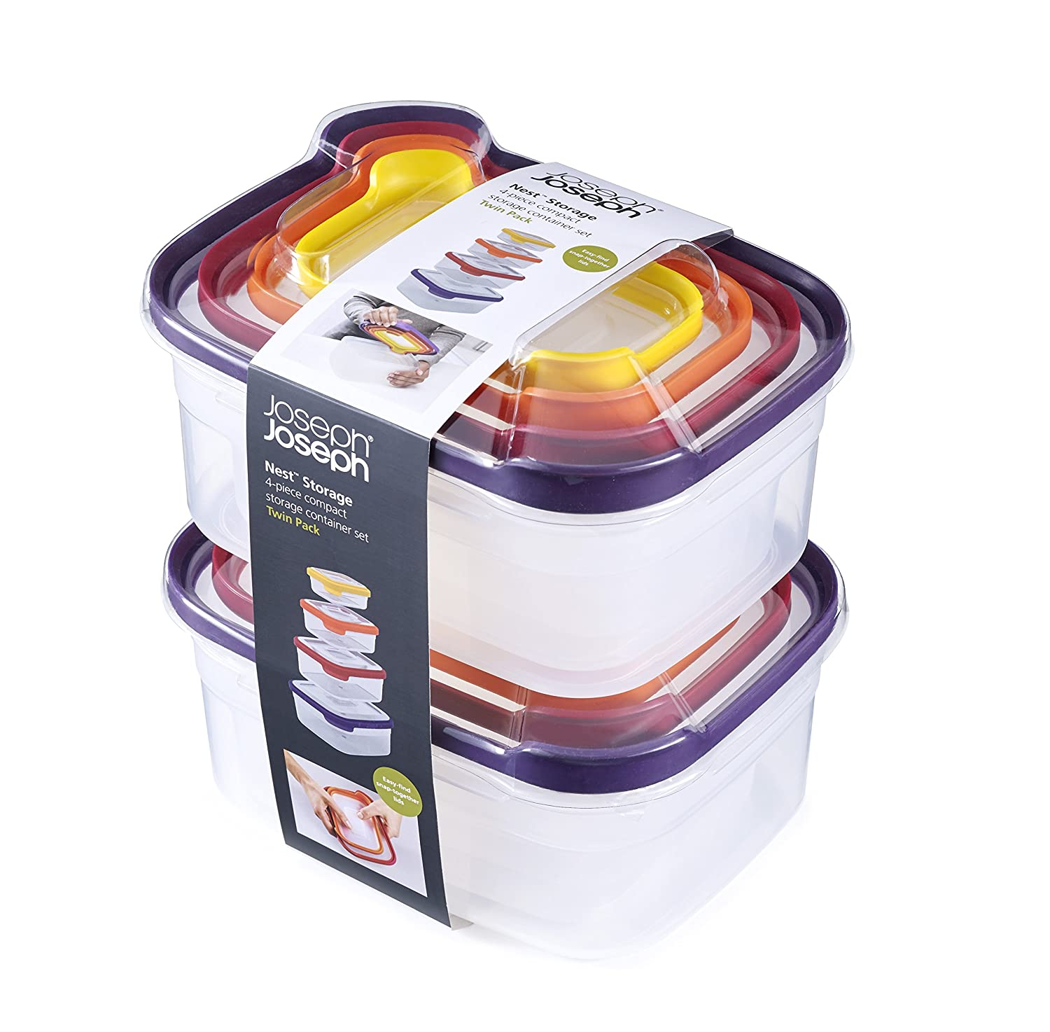 Amazon.com: Joseph Joseph 98193 Nest Storage Plastic Food Storage  Containers Set With Lids Airtight Microwave Safe, 16 Piece: Kitchen U0026 Dining