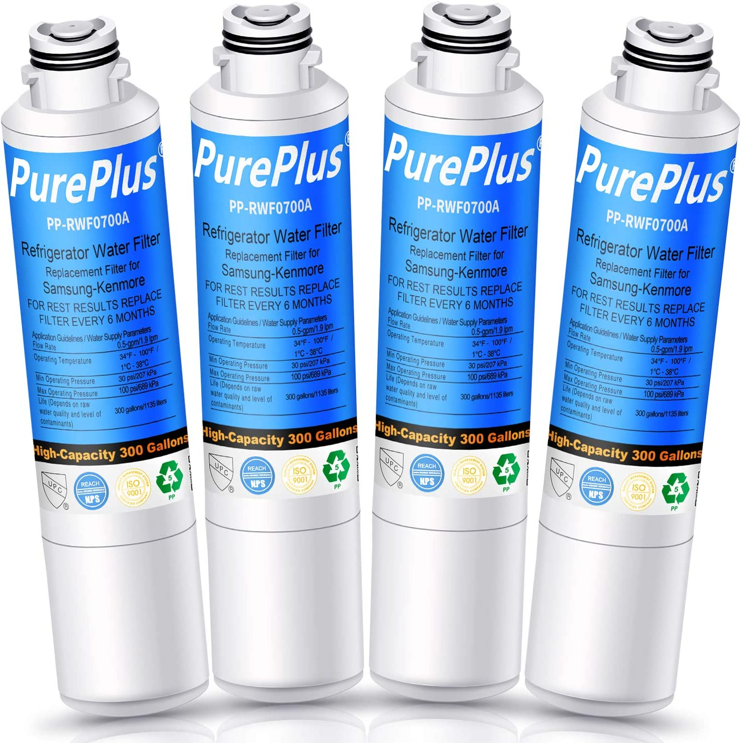 PUREPLUS DA29-00020B Refrigerator Water Filter, Replacement for Samsung DA29-00020A/B, HAF-CIN, HAF-CIN/EXP, DA97-08006A, 9101, HDX FMS-2, RF28HMEDBSR, RF4287HARS, RF263TEAESG, RH22H9010SR (Pack of 4)