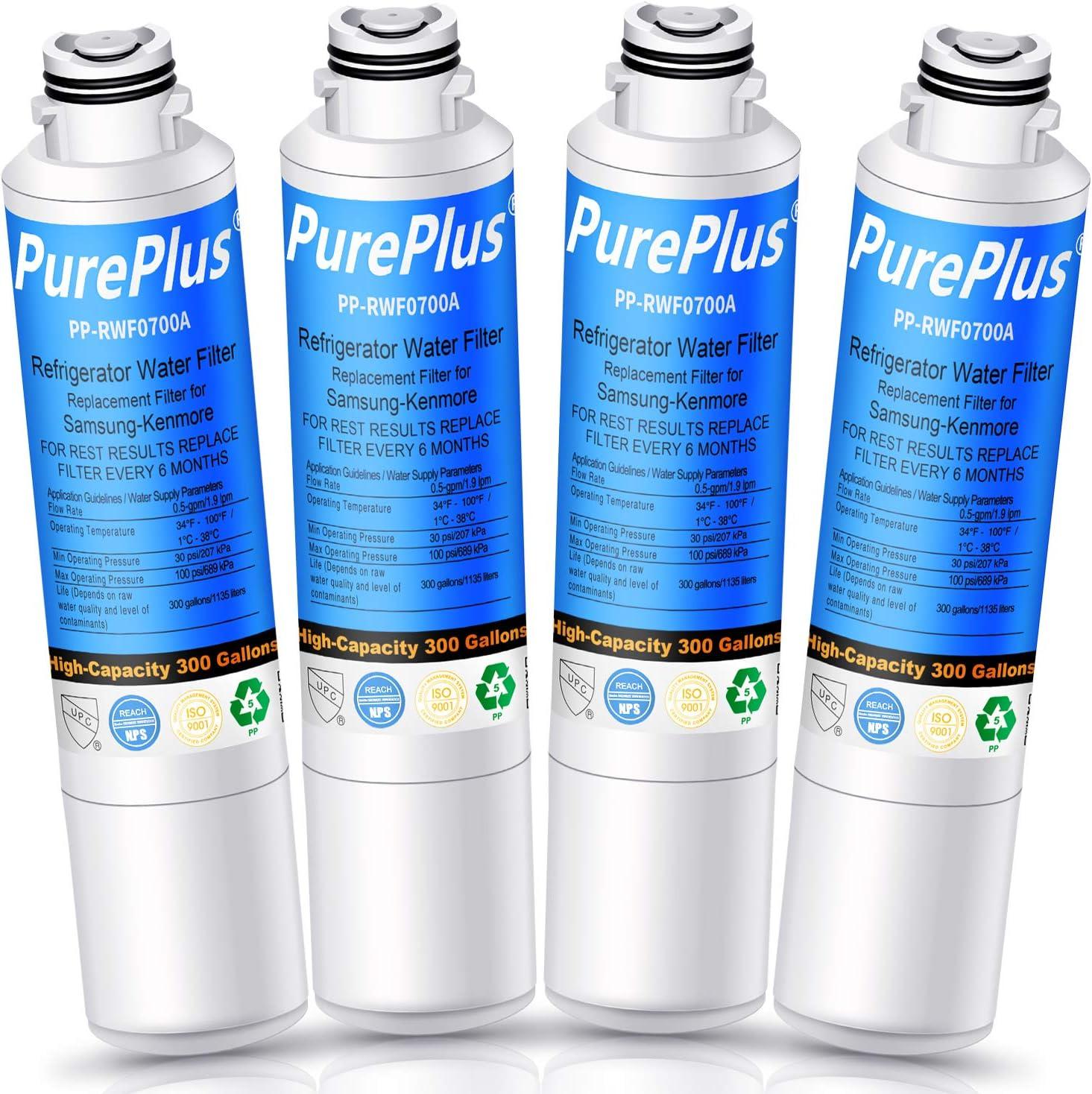 PUREPLUS DA29-00020B Refrigerator Water Filter, Replacement for Samsung DA29-00020A/B, HAF-CIN, HAF-CIN/EXP, DA97-08006A, 9101, HDX FMS-2, RF28HMEDBSR, RF4287HARS, RF263TEAESG, RH22H9010SR (Pack of 4)