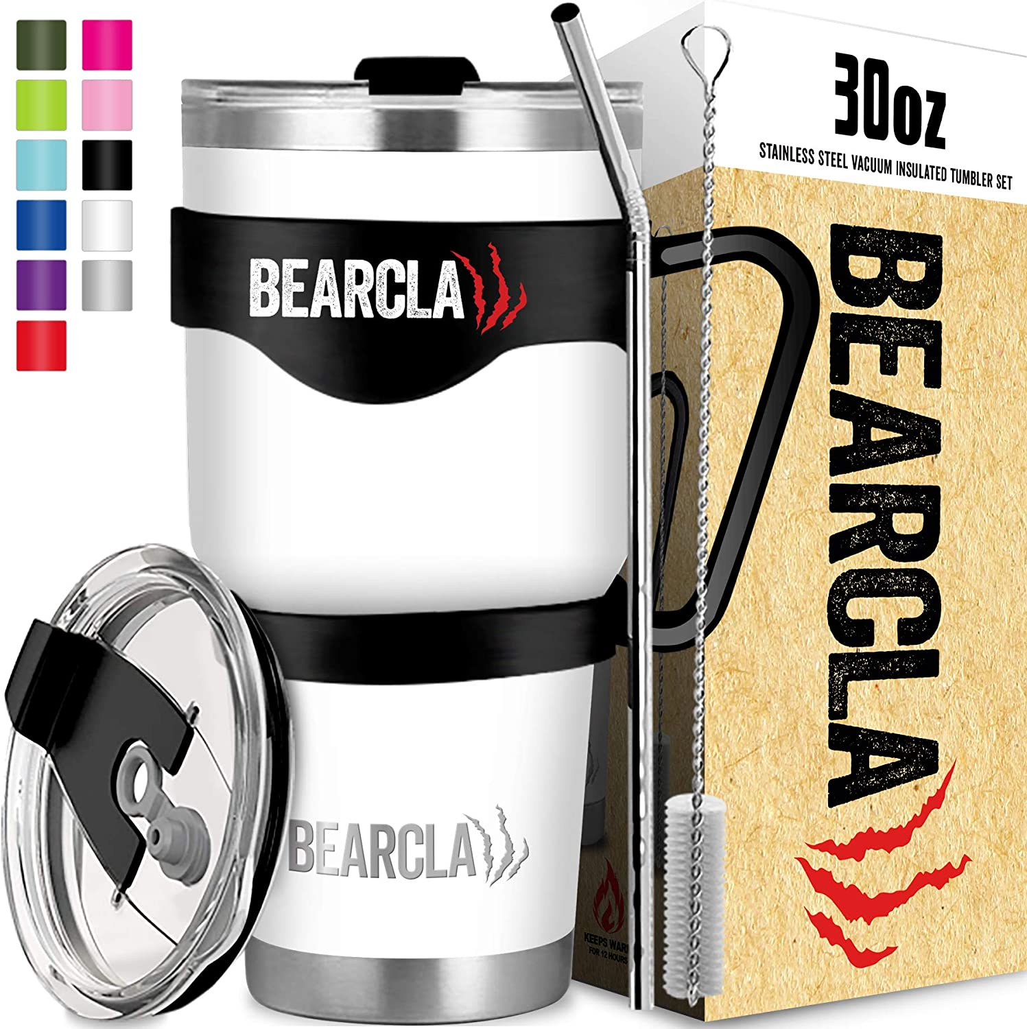 MalloMe BEARCLAW 30 oz White Stainless Steel Vacuum Insulated 6-Piece Tumbler Set