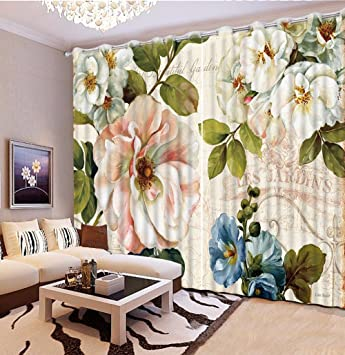 Sproud Schöne Blumen Luxus Blackout 3D Vorhänge Für Wohnzimmer Betten Zimmer  Büro Vorhänge Cotinas Para