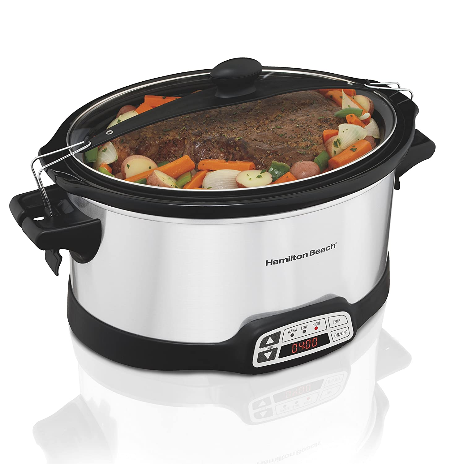 Hamilton Beach 33661 Stay or Go Slow Cooker 6-Quart Silver