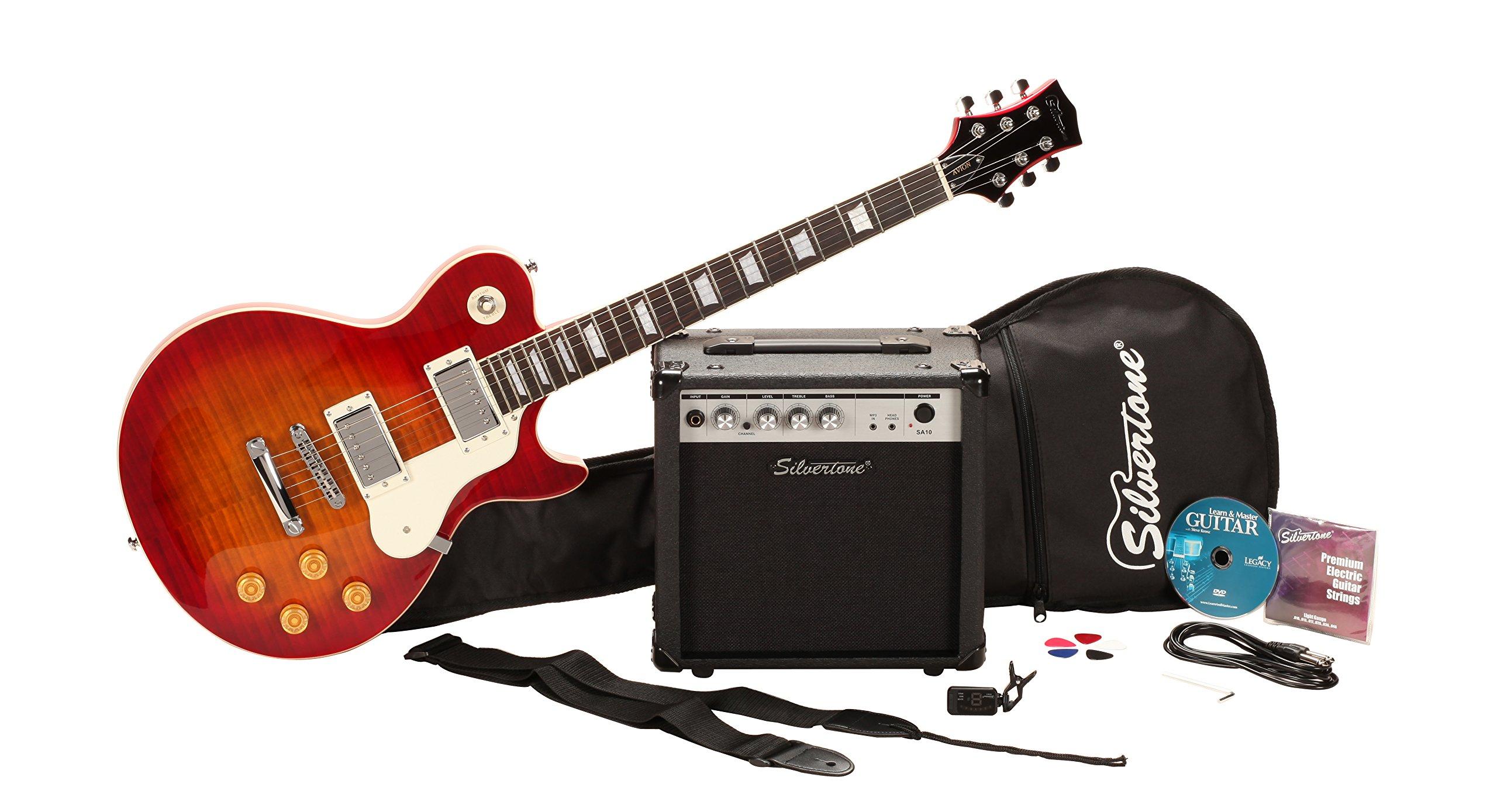 Silvertone SSL3 Electric Guitar Package, Vintage Cherry Sunburst