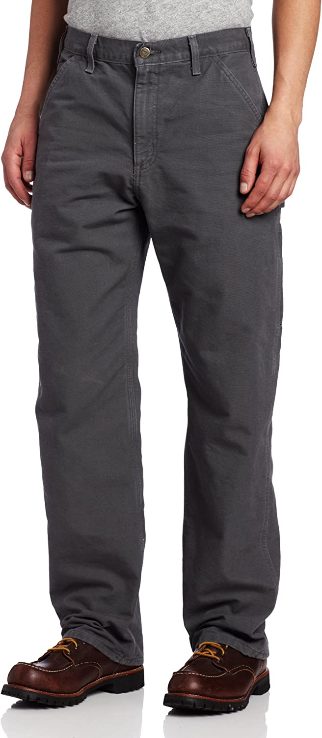 Carhartt Mens Washed Duck Dungaree Flannel Lined Work Pant