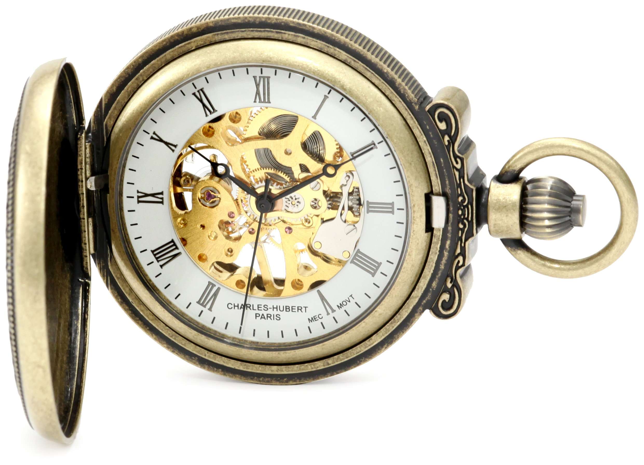 Charles-Hubert, Paris 3865-G Classic Collection Gold-Plated Antiqued Finish Hunter Case Mechanical Pocket Watch by Charles-Hubert, Paris