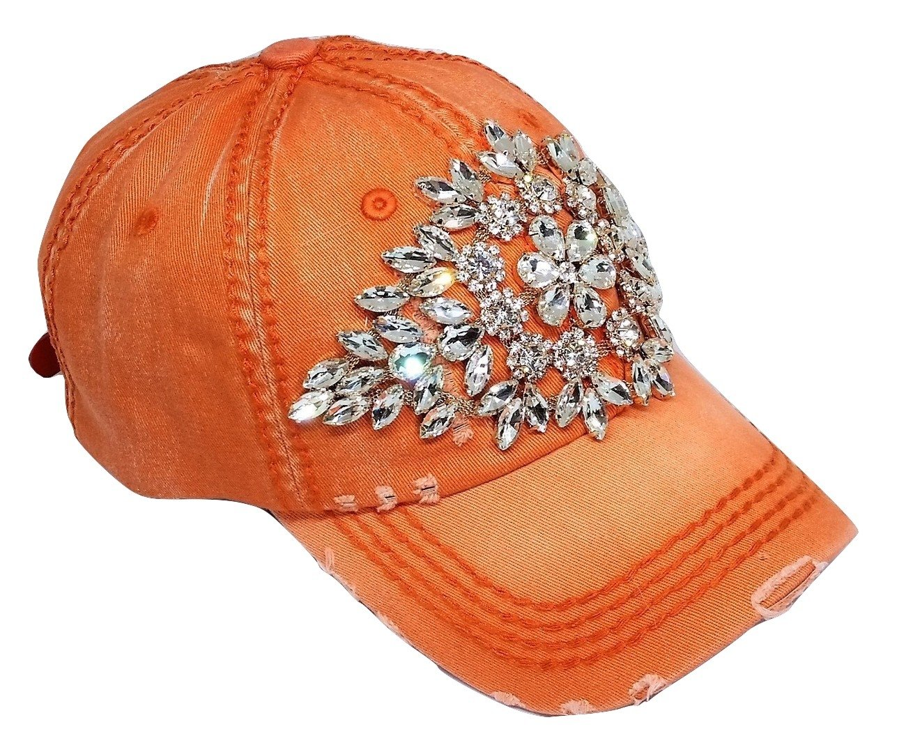 Olive & Pique Women's Large Horizontal Crystal Flower Distressed Baseball Cap (Burnt Orange)