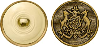 product image for C&C Metal Products 5160 Rimmed Horse Crest Metal Button, Size 45 Ligne, Antique Gold, 36-Pack