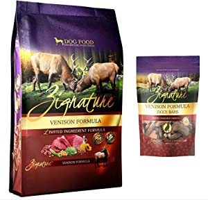 Zignature Venison Dog Food 4 Pound Bag & Venison (New) Ziggy Dog Treat Bars 12 Ounce Bag