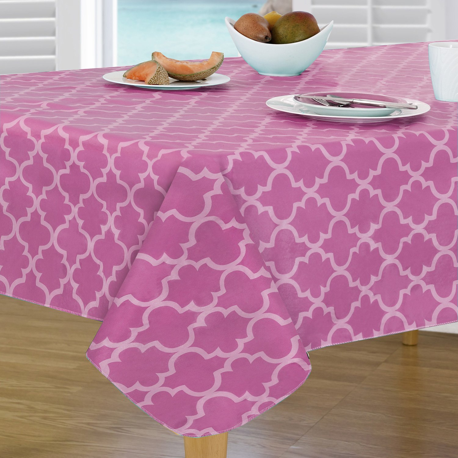 Everyday Luxuries by Newbridge Peyton Geo Flannel Backed Indoor Outdoor Vinyl Table Linens, Tablecloth 70-Inch Round Tablecloth, Bright Pink