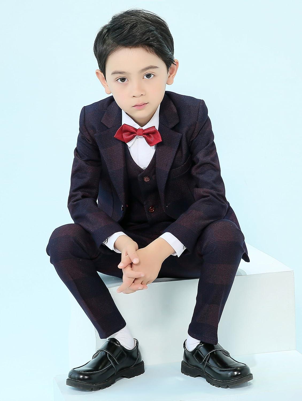 4bf75ebbcdd3 Amazon.com: Iyan Boys Suits Black Plaid Suit 5 Piece Slim Fit: Clothing