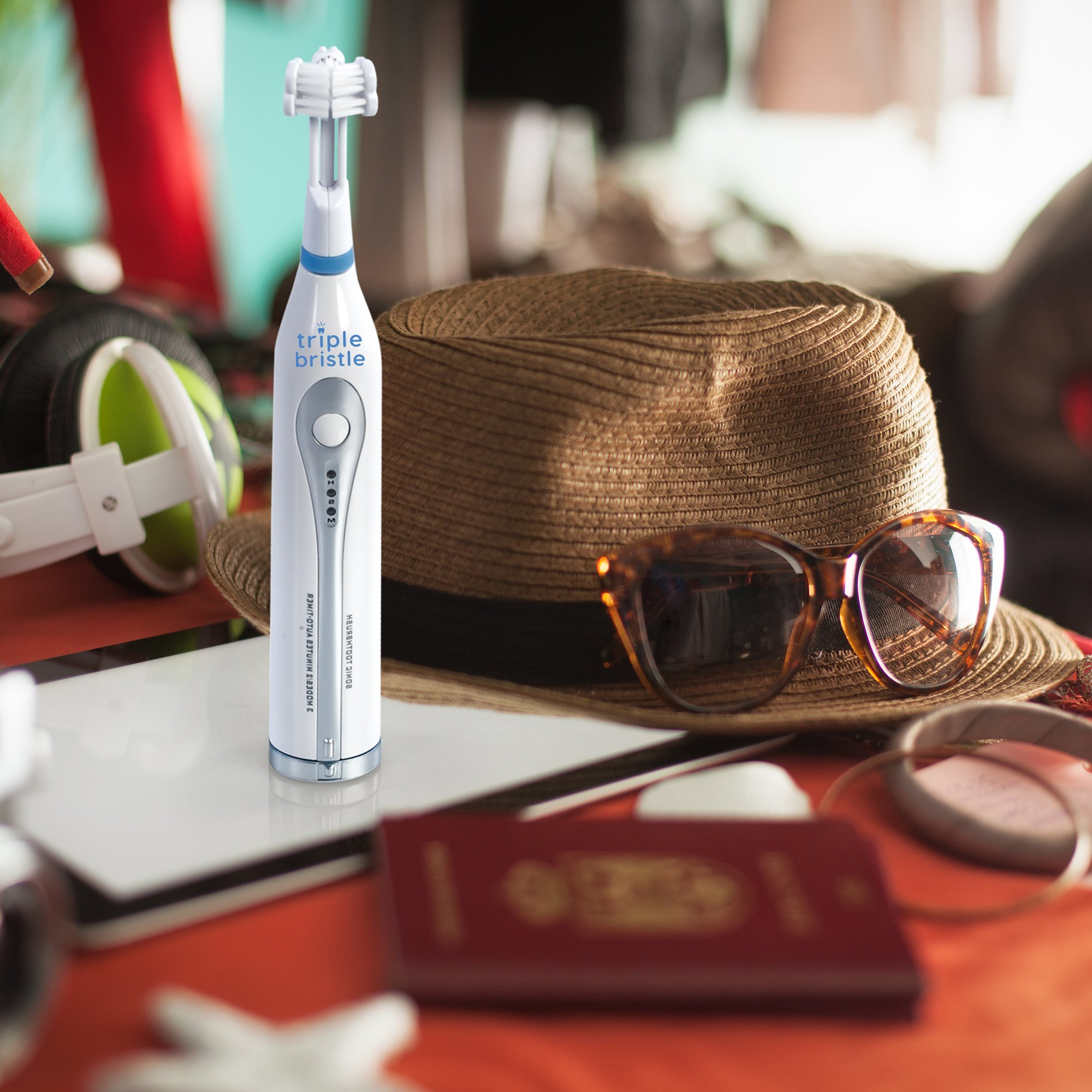 Triple Bristle Go Travel Sonic Toothbrush - AA Battery Charged, Perfect For On The Go Life Style - Great for camping, sleep overs, office, traveling, gym or in a Urt in Utah. Where will your Go, go? by Triple Bristle (Image #4)