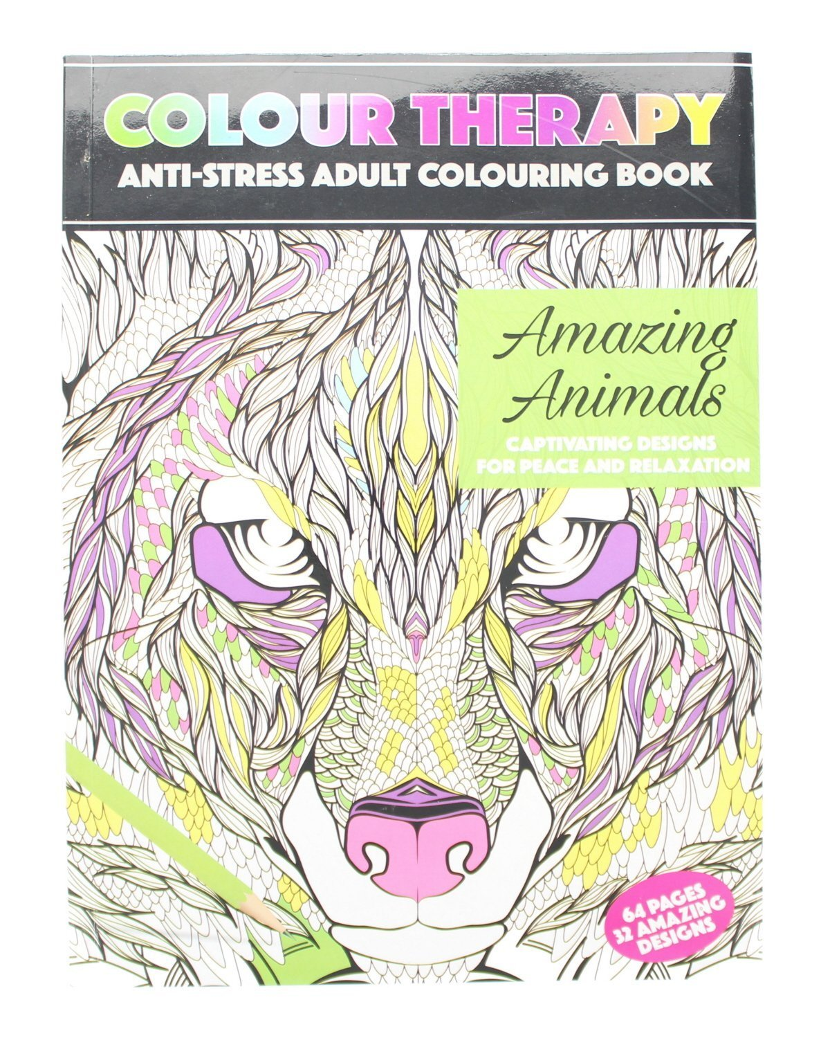 Adult Colouring Anti-Stress Therapy 64 Page A4 Amazing Animals Book - 2nd Generation PMS