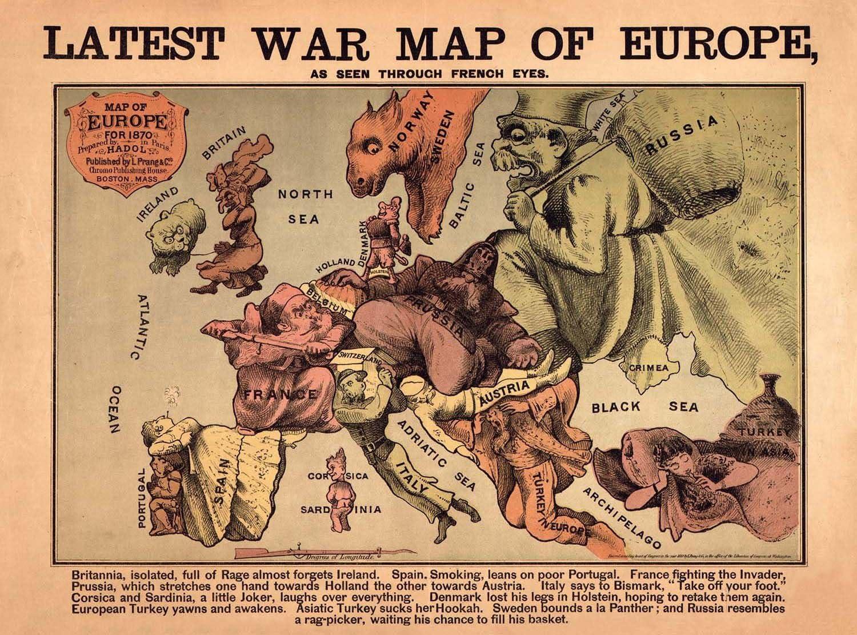 ILLUSTRATION LATEST WAR MAP OF EUROPE 1870 LARGE WALL ART PRINT POSTER LF2480