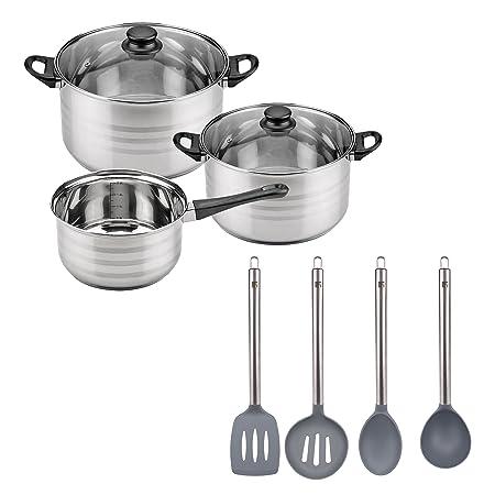 Batería de cocina SIP 5 piezas (cazo + dos ollas con tapa de vidrio) y Set de 4 utensilios de cocina: espumadera, cucharón, cuchara y espátula: Amazon.es: ...