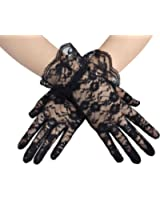 Deceny CB Short Lace Gloves for Women Wrist Length Floral Gloves for Wedding