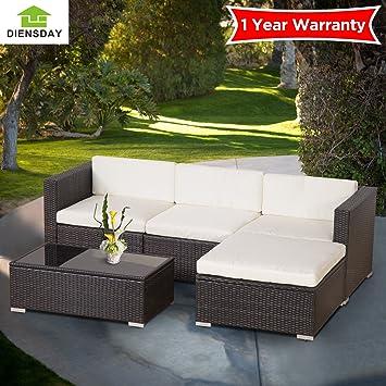 Diensday Deluxe Aluminum 5 Piece All Weather Cushioned Indoor/Outdoor Patio  PE Rattan Furniture