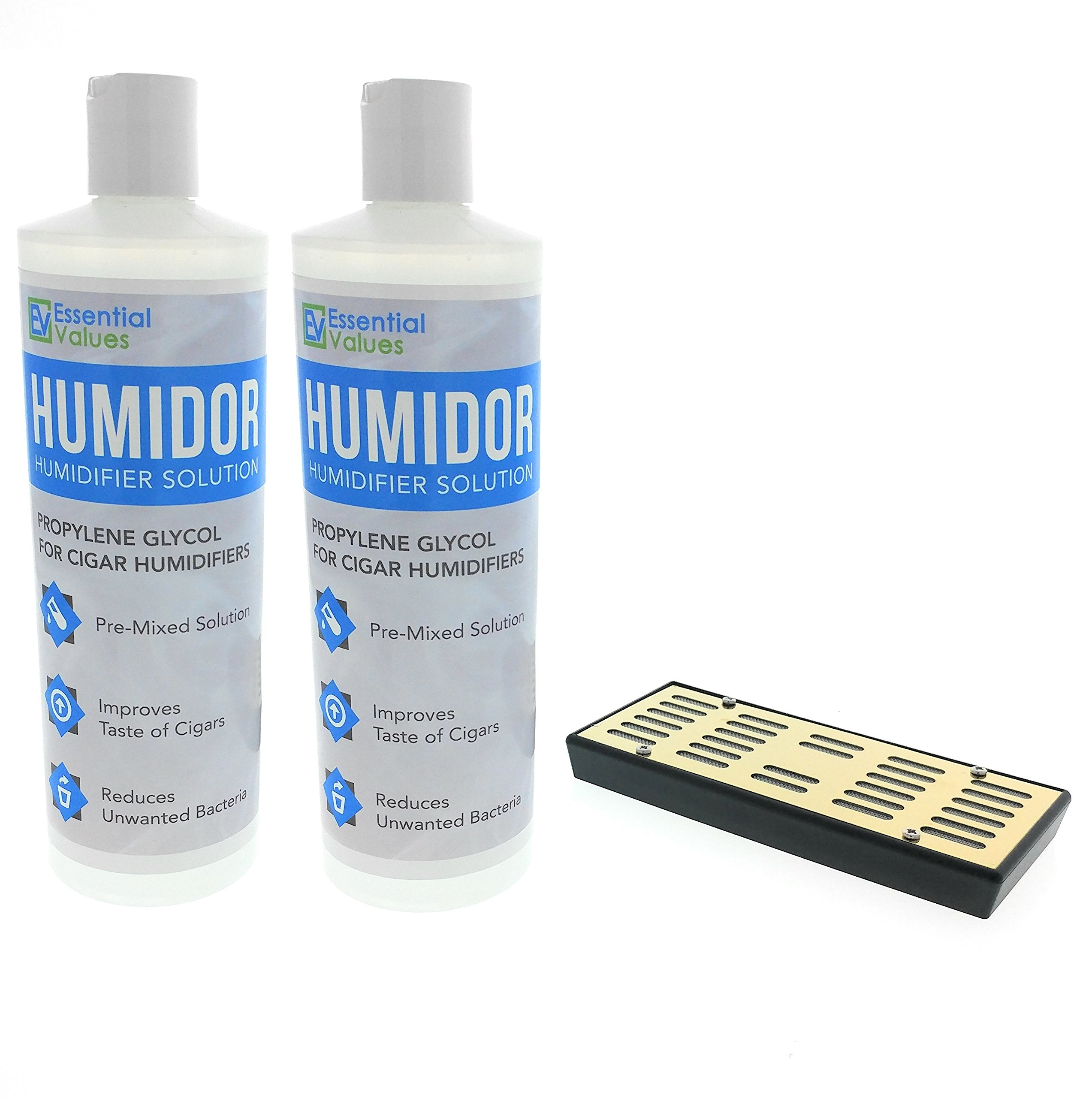 2PK Humidor Solution & Cigar Humidor Humidifier Combo, 16oz Propylene Glycol and Cigar Humidifier for 1-250 Cigars by Essential Values (Humidifier & 2 Pack Solution) by Essential Values (Image #1)
