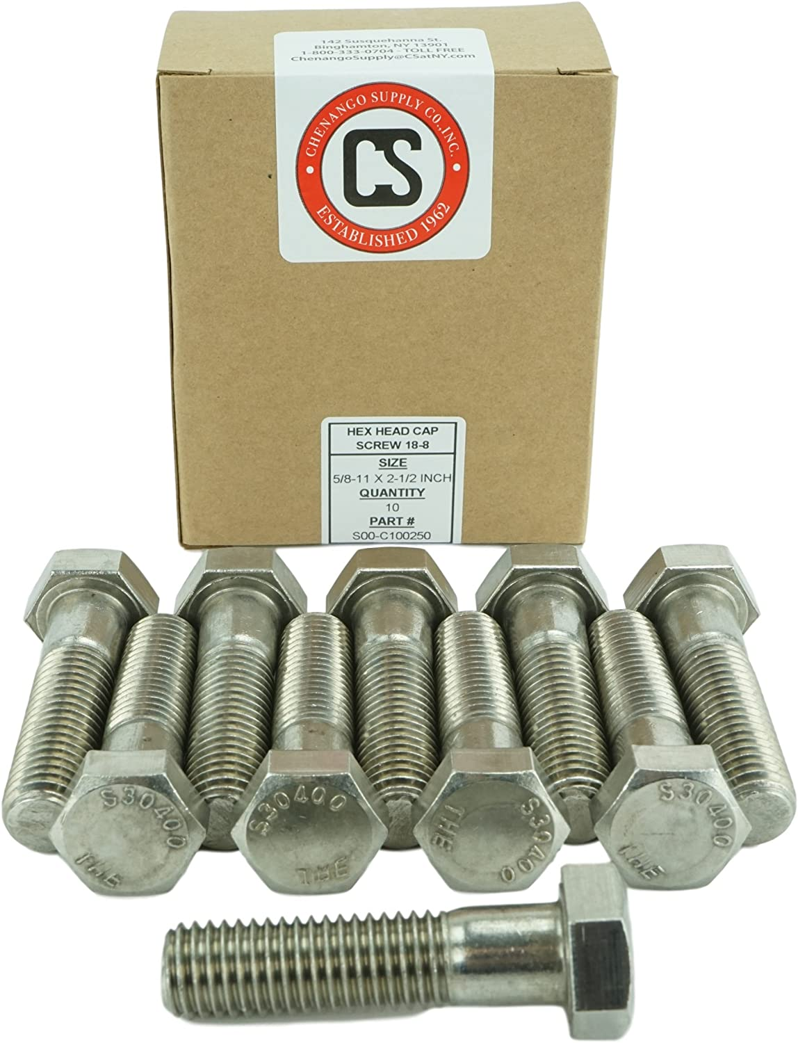 Chenango Supply 10 pieces 5//8-11 x 4-1//2 1 To 6 Lengths Available in Listing Stainless 5//8-11 x 4-1//2 Hex Head Bolts 5//8-11 x 4-1//2 304 Stainless Steel 10 pieces