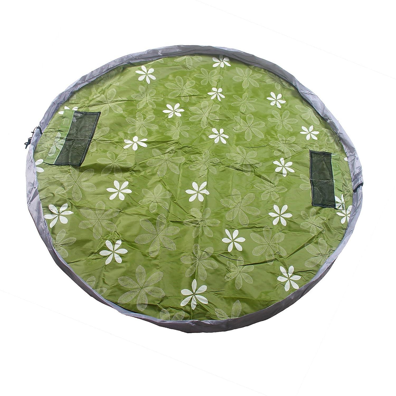 TUKA impermeabile 145cm Play-Tappeto gioco e borsa portagiocattoli per bambini, Portatile Giocattoli Organizzatore borsa Giocare Mat, rapida raccolta, verde, TKD4007 green
