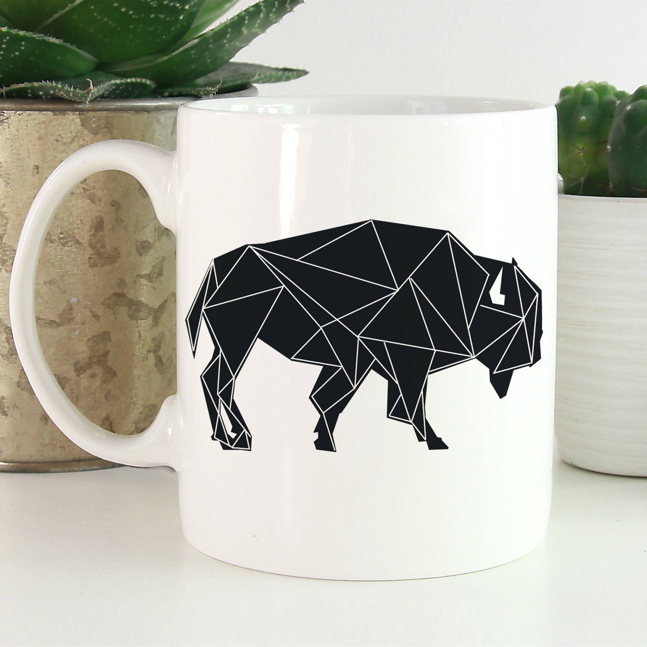 Buffalo Coffee Mug   Geometric Animal Coffee Mug   Animals Mug   Microwave and Dishwasher Safe