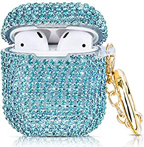 Case for Airpods , Filoto AirPod Accessories Cases Cover Bling Crystal TPU Protective Case with Lobster Clasp Keychain for Apple Air Pods 2&1 Charging Case, Best Gift for Women Girls (Glitter Blue)