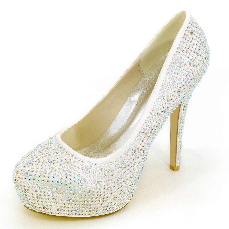 Ivoire Elobaby Femmes Chaussures De Mariage Strass Chunky Strass Bout fermé Pointe Ronde Ivoire Talons Hauts Talon de 12.5cm 38 EU